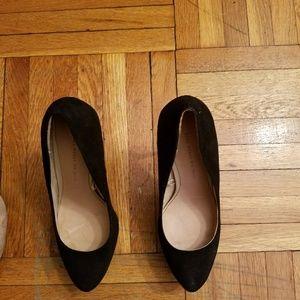 Zara Suede Black Platform 4' Heels - 8